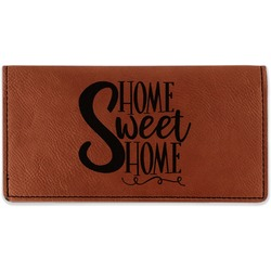 Home Quotes and Sayings Leatherette Checkbook Holder (Personalized)