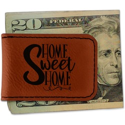 Home Quotes and Sayings Leatherette Magnetic Money Clip (Personalized)