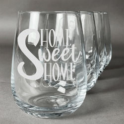 Home Quotes and Sayings Wine Glasses (Stemless- Set of 4) (Personalized)