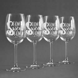 Home Quotes and Sayings Wineglasses (Set of 4) (Personalized)