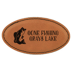 Gone Fishing Leatherette Oval Name Badge with Magnet (Personalized)