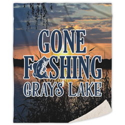 Gone Fishing Sherpa Throw Blanket (Personalized)