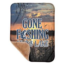 "Gone Fishing Sherpa Baby Blanket 30"" x 40"" (Personalized)"