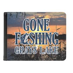 Gone Fishing Genuine Leather Men's Bi-fold Wallet (Personalized)