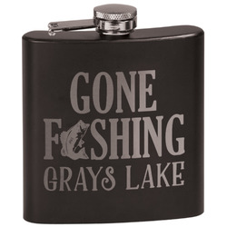 Gone Fishing Black Flask (Personalized)