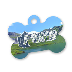 Gone Fishing Bone Shaped Dog Tag (Personalized)
