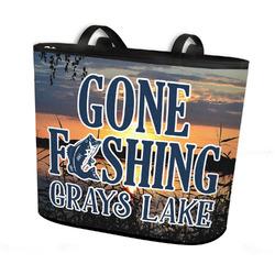 Gone Fishing Bucket Tote w/ Genuine Leather Trim (Personalized)