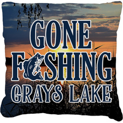 Gone Fishing Faux-Linen Throw Pillow (Personalized)