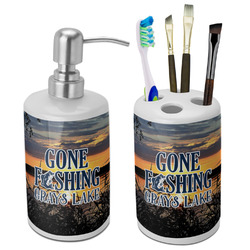 Gone Fishing Bathroom Accessories Set (Ceramic) (Personalized)