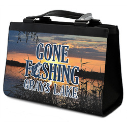 Gone Fishing Classic Tote Purse w/ Leather Trim (Personalized)