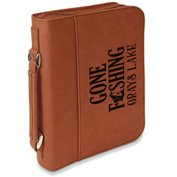 Gone Fishing Leatherette Book / Bible Cover with Handle & Zipper (Personalized)