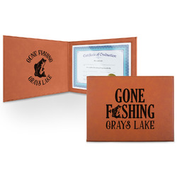 Gone Fishing Leatherette Certificate Holder (Personalized)