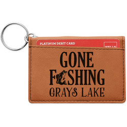 Gone Fishing Leatherette Keychain ID Holder (Personalized)