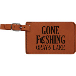 Gone Fishing Leatherette Luggage Tag (Personalized)