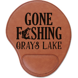 Gone Fishing Leatherette Mouse Pad with Wrist Support (Personalized)