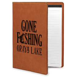 Gone Fishing Leatherette Portfolio with Notepad (Personalized)