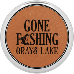 Gone Fishing Leatherette Round Coaster w/ Silver Edge - Single or Set (Personalized)