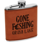 Gone Fishing Leatherette Wrapped Stainless Steel Flask (Personalized)