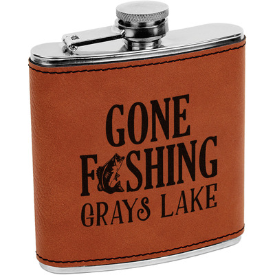Hunting / Fishing Quotes and Sayings Leatherette Wrapped Stainless Steel Flask (Personalized)