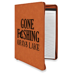 Gone Fishing Leatherette Zipper Portfolio with Notepad (Personalized)