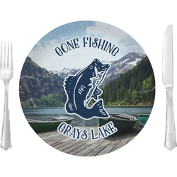 "Gone Fishing 10"" Glass Lunch / Dinner Plates - Single or Set (Personalized)"