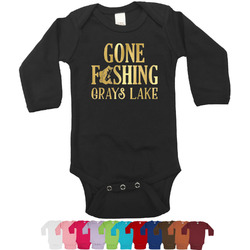 Hunting / Fishing Quotes and Sayings Foil Bodysuit - Long Sleeves - 6-12 months - Gold, Silver or Rose Gold (Personalized)