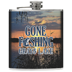 Gone Fishing Genuine Leather Flask (Personalized)