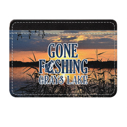 Gone Fishing Genuine Leather Front Pocket Wallet (Personalized)