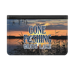 Gone Fishing Genuine Leather ID & Card Wallet - Slim Style (Personalized)