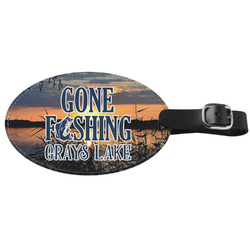 Gone Fishing Genuine Leather Luggage Tag (Personalized)