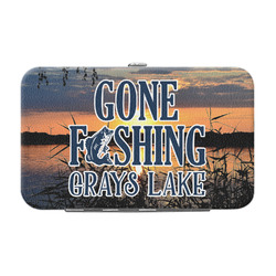 Gone Fishing Genuine Leather Small Framed Wallet (Personalized)