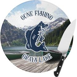 Gone Fishing Round Glass Cutting Board (Personalized)
