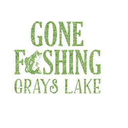 Gone Fishing Glitter Iron On Transfer- Custom Sized (Personalized)