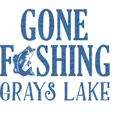 Gone Fishing Glitter Sticker Decal - Custom Sized (Personalized)