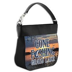 Gone Fishing Hobo Purse w/ Genuine Leather Trim w/ Photo