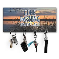 Gone Fishing Key Hanger w/ 4 Hooks w/ Photo