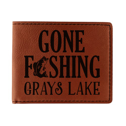 Gone Fishing Leatherette Bifold Wallet (Personalized)