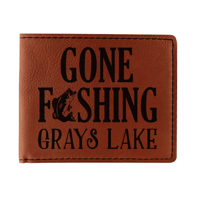 Gone Fishing Leatherette Bifold Wallet (Personalized)