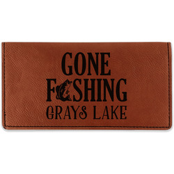 Gone Fishing Leatherette Checkbook Holder (Personalized)