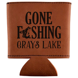 Gone Fishing Leatherette Can Sleeve (Personalized)