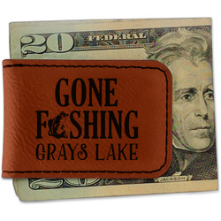 Gone Fishing Leatherette Magnetic Money Clip (Personalized)