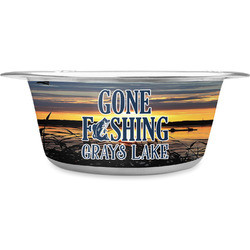 Gone Fishing Stainless Steel Pet Bowl (Personalized)