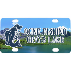 Gone Fishing Mini / Bicycle License Plate (4 Holes) (Personalized)