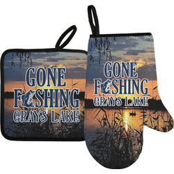 Gone Fishing Oven Mitt & Pot Holder (Personalized)