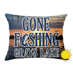 Gone Fishing Outdoor Throw Pillow (Rectangular) (Personalized)