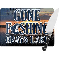 Gone Fishing Rectangular Glass Cutting Board (Personalized)