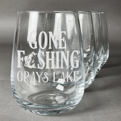 Gone Fishing Stemless Wine Glasses (Set of 4) (Personalized)