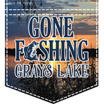 Gone Fishing Iron On Faux Pocket (Personalized)