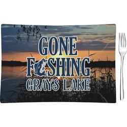 Gone Fishing Rectangular Glass Appetizer / Dessert Plate - Single or Set (Personalized)
