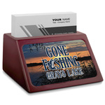 Gone Fishing Red Mahogany Business Card Holder (Personalized)